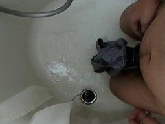 Japanese boy vidz wet his  super pants and cum in shower