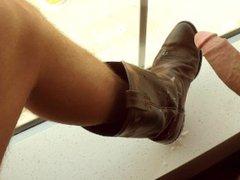 Straight Uncut vidz Military Jerks  super And Blows Big Cum Load on Buddies Cowboy Boot