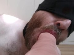 Hot! Real vidz ass to  super mouth POV close up on straight hairy daddy with huge dildo