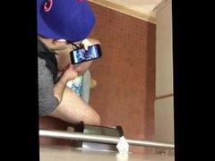 Nerd wanking vidz at public  super toilet