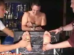 Two older vidz guys having  super fun tickling a tied up younger dude