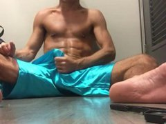 in the vidz changeroom ,  super hard dick in shorts
