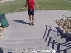 MenPOV Car vidz blowjob turns  super into fuck after jogging workout
