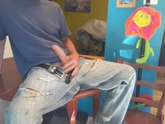 Masturbate with vidz my wank's  super jeans on the kitchen table #1