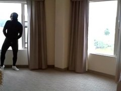 masked socked vidz morph jerking  super off in hotel room windows