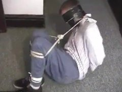 Hot boy vidz tied up,  super blindfolded and gagged with tape. Hot struggling and MMmmp