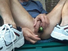 Zucchini fuck vidz on my  super patio with my new sneakers #1