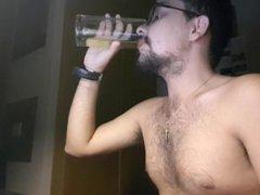Jerking off, vidz ass and  super drinking a glass of my own piss