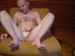 Caressing the vidz penis in  super panties and without, ejaculation from the penis uri