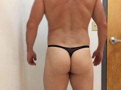 Posing in vidz black thong