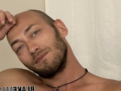 Bald Spanish vidz twink Dominic  super Arrow strokes his fat cock solo