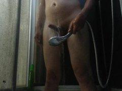a boy vidz massages his  super cock by water. no hands orgasm.