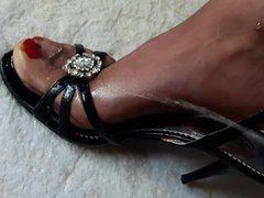 Hard cock vidz piss on  super nylon feet in high heels