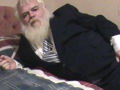 Fat old vidz man wanking