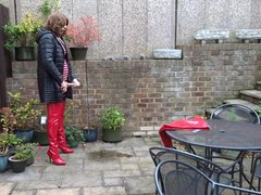 Alison - vidz Piss and  super Cum in Red PVC Skirt and Thigh Boots