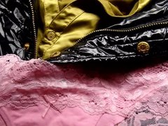 Cum on vidz pink panties  super on satin blouse and shiny black jacket