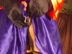 Sissy crossdresser vidz explodes under  super satin miniskirt