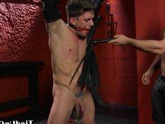 BDSM dom vidz clamps subs  super balls and sucks his cock