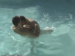 Yummy twink vidz Winter Vance  super has anal foursome in the pool