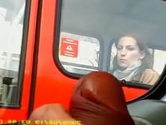 Girl in vidz bus sees  super flasher's cock