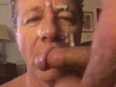 Faggot Cocksucker vidz Not Happy  super to Get Cum Facial