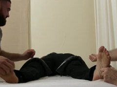 Ripped hunk vidz Blayne is  super restrained and tickled by two dudes