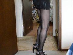Upskirt in vidz Micro Mini  super and Black Pantyhose