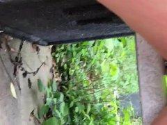 Peeing in vidz public park  super (smooth shaved legs)