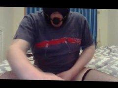 Masked sub: vidz dildo, gag  super and masturbate to cum