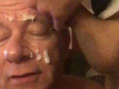Old Cocksucking vidz Faggot Takes  super a HUGE Cum Load Right in the Face!