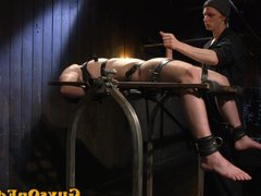 Edging bdsm vidz sub tied  super up for cocksucking