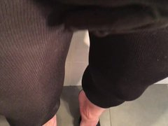 Pissing in vidz neighbor's leggings  super and shiny pantyhose