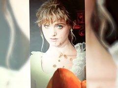 Natalia Dyer vidz - white  super dress with lace - Cum Tribute 6