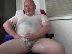 bear gay vidz daddy jerking  super on balcony