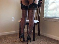Grey Stockings vidz & Heels