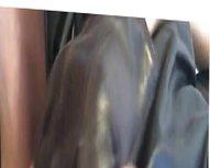 Black leather vidz dress, wanking  super with gloves till i cum