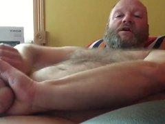 Sexy Bear vidz Stroking His  super Thick Cock Until Eruption
