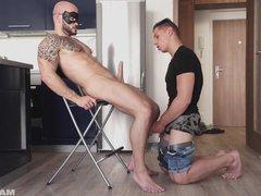 Maskurbate Paying vidz the Rent  super with his Beautiful Cock