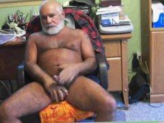 Silver daddy vidz bear stroking  super his nice cock