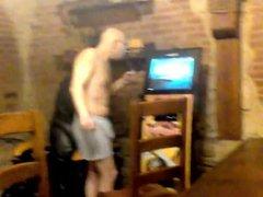 In the vidz sauna he  super sings in boxer shorts