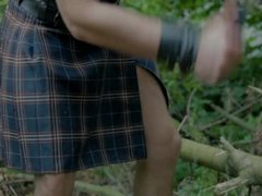 Cute shirtless vidz guy in  super scottish kilt playing with cock after hard work