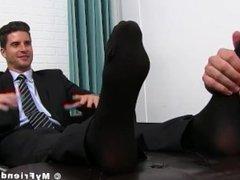 Classy jock vidz in suit  super enjoying is some sloppy feet sucking