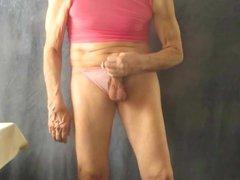Sissy bitch vidz masturbates in  super pink panties.