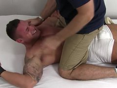 Ripped twonk vidz Brad Barnes  super is bound and ready for the tickling