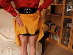 Red satin vidz blouse and  super yellow pleats
