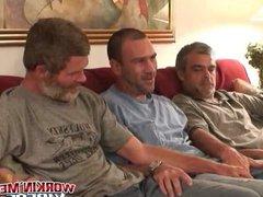 Hairy older vidz men sucking  super dick and having fun in threesome