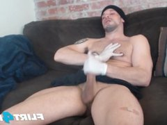 Allen Cole vidz on Flirt4Free  super - Hunk w Latex Gloves and Nipple Fetish Jerks Hard