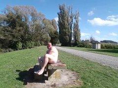 Fat man vidz in a  super public place