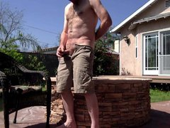 Cumming in vidz my backyard,  super after stroking slipping off pants