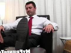 Feet worshiping vidz and licking  super with classy hunk and muscular da